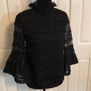 INA Black Lace and Ruffle Top